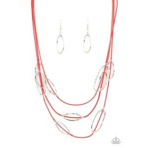 Check Your CORD-inates - Red Necklace Earring Set